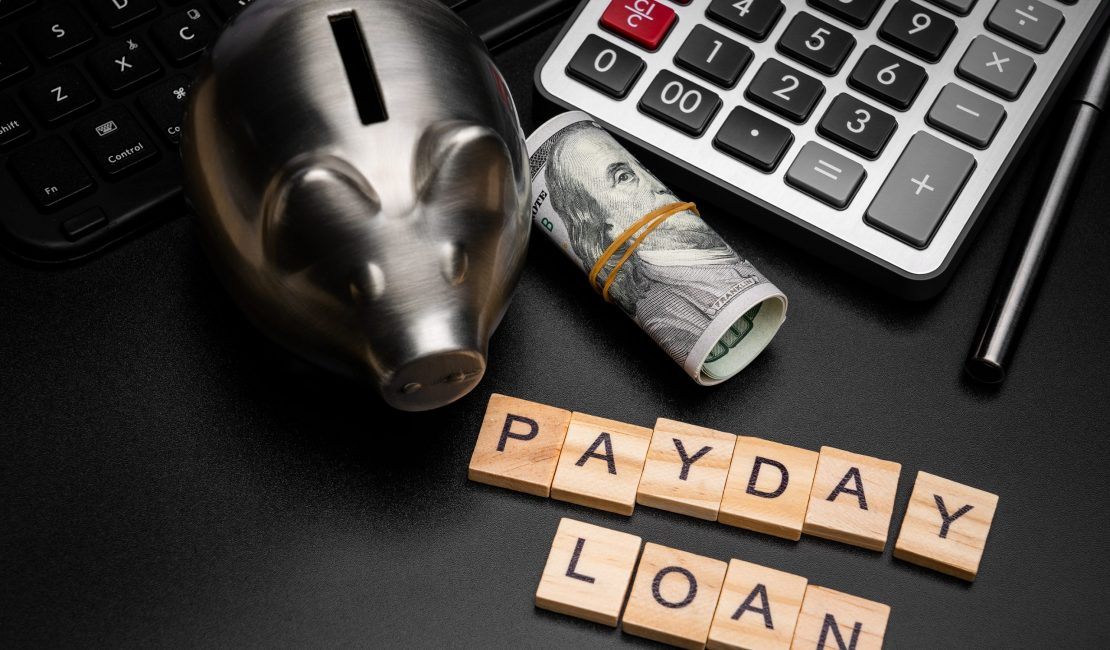 Payday Loan with calculator and piggy bank