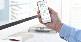credit score result on mobile phone