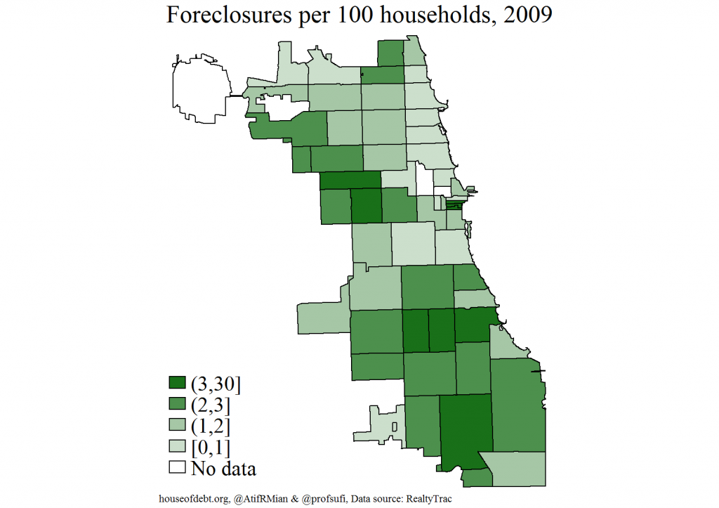 Foreclosures per 100 households